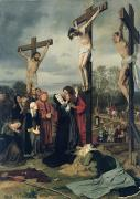 Grief Framed Prints - Crucifixion Framed Print by Eduard Karl Franz von Gebhardt