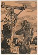 Tomb Drawings Metal Prints - Crucifixion Metal Print by Sirenko
