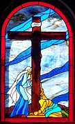 Religious Glass Art - Crucufixtion of Jesus the Christ by Gladys Espenson