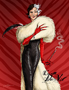 Drawn Prints - Cruella De Vil Print by Christopher Ables