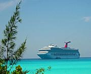 Half Moon Cay Prints - Cruise Ship at Half Moon Cay Print by Gary Wonning