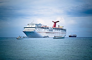 Cayman Islands Framed Prints - Cruise Ship on the Ocean Framed Print by Inti St. Clair