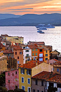 Dusk Prints - Cruise ships at St.Tropez Print by Elena Elisseeva