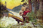 Backpacking Posters - Cruisers Making A Portage Poster by JQ Licensing