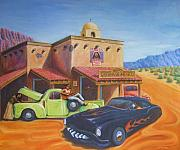 Hotrod Drawings Posters - Cruisin Poster by Howard Searchfield