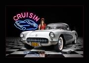1957 Corvette Prints - Cruisin The Diner .... Print by Rat Rod Studios