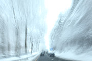 Snowstorm Art - Cruising in a Snowstorm by Karol  Livote