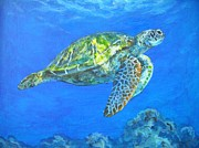 Hawaii Sea Turtle Paintings - Cruising Laui by Jennifer Belote