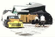 Chevy Pickup Prints - Cruising The Car Show Print by Steve McKinzie