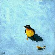 Bird Portrait Posters - Crumbs -Bird painting Poster by Linda Apple