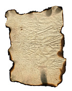 Papyrus Photos - Crumpled Paper With Charred Edges by Michal Boubin