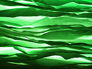 Large Group Of Objects Art - Crumpled Sheets Of Green Paper. by Ballyscanlon