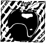 Yonatan Frimer Prints - Cruncy And Delicious Maze of Apple Print by Yonatan Frimer Maze Artist