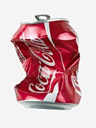 Fizzy Drink Framed Prints - Crushed Coca Cola Can Cut-out Framed Print by Mark Sykes