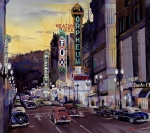 Ford Watercolor Framed Prints - Crusin Broadway in the Fifties Framed Print by Mike Hill
