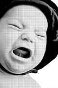 Susan Leggett Acrylic Prints - Crying Baby in Halftone Black and White Acrylic Print by Susan Leggett