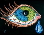 Surrealism Drawings - Crying Eye by Karen Musick