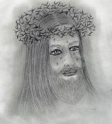 Jesus Drawings Prints - Crying Jesus Print by Sonya Chalmers