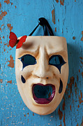 Wood Wall Hanging Framed Prints - Crying mask and red butterfly Framed Print by Garry Gay