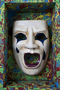 Masks Framed Prints - Crying mask in box Framed Print by Garry Gay