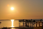 Pier Digital Art - Crystal Beach Golden Sunset by Bill Cannon