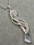 Futuristic Jewelry - Crystal Clear Shard Twisted Teardrop Pendant by Heather Jordan