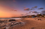 Crystal Art - Crystal Cove Beach Cottages At Sunset by Eddie Yerkish