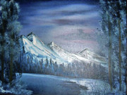 Snow Covered Pine Trees Paintings - Crystal Lake by Lisa Ivey