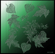 Crystal Mixed Media Prints - Crystal Leaves Print by H G Mielke