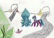 Crystals Drawings - Crystal Meadow by April McCallum