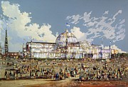 Crowds Paintings - Crystal Palace New York by WS Parkes