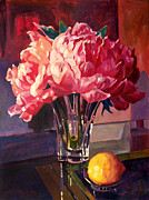 Glass Table Prints - Crystal Pink Peonies Print by David Lloyd Glover