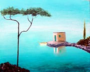Italian Mediterranean Art Paintings - Crystal Waters On The Mediterranean by Larry Cirigliano