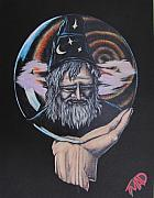 Michael Drawings Framed Prints - Crystal Wizard Framed Print by Michael  TMAD Finney