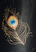 Swarovski Crystals Painting Originals - Crystalized Feathers by Layeeqa Fathima