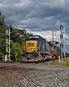 Csx Metal Prints - CSX Train Headed West Metal Print by Pamela Baker