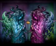 Fantasy Digital Art Prints - Cthluhu Rainbow Print by David Bollt