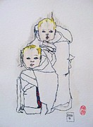 Children Prints Drawings - Cuates by Roberto Prusso