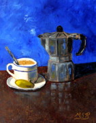 Cafe Cubano Art - Cuban Coffee and Lime Blue by Maria Soto Robbins