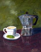 Cuban Coffee And Lime Green Print by Maria Soto Robbins