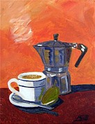 Cafe Cubano Art - Cuban Coffee and Lime Peach by Maria Soto Robbins