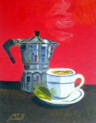 Cofee Framed Prints - Cuban Coffee and Lime Red    Left Framed Print by Maria Soto Robbins