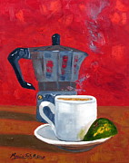 Espresso Paintings - Cuban Coffee and Lime Red 62012 by Maria Soto Robbins
