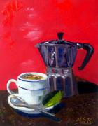 Espresso Paintings - Cuban Coffee and Lime Red by Maria Soto Robbins
