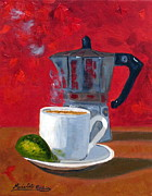 Cafe Cubano Art - Cuban Coffee and Lime Red R62012 by Maria Soto Robbins