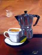 Espresso Paintings - Cuban Coffee and Lime Tan Right by Maria Soto Robbins