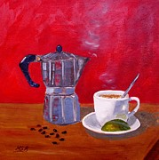 Espresso Paintings - Cuban Coffee Beans and Lime by Maria Soto Robbins