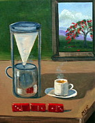 Cafe Cubano Art - Cuban Coffee Dominos and Royal Poinciana by Maria Soto Robbins