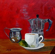 Espresso Paintings - Cuban Coffee Lime and Creamer 2 by Maria Soto Robbins
