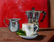 Maria Soto Robbins Prints - Cuban Coffee Lime and Creamer Print by Maria Soto Robbins